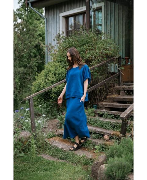 Ilgas lino sijonas