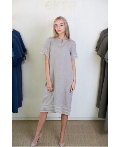Suknelė su apvalia kaklo...